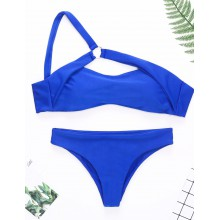 One shoulder Bikini blau